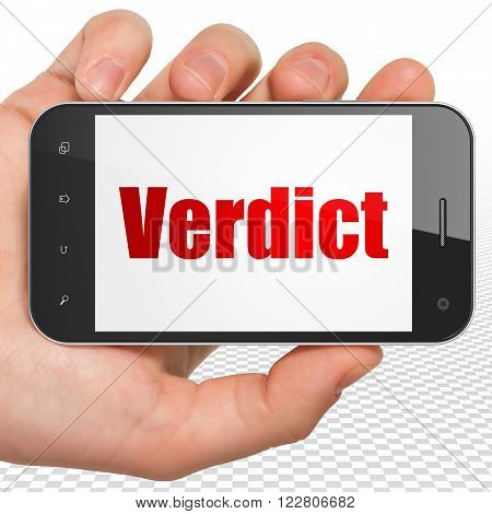 Law concept: Hand Holding Smartphone with Verdict on display