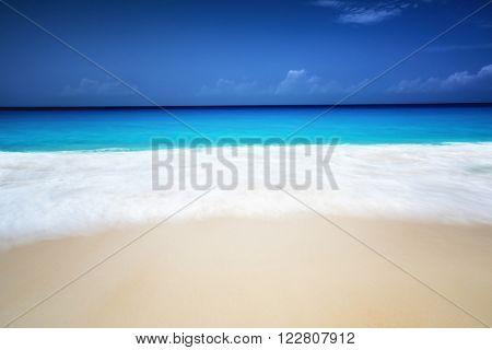 seychelles beach in sunny day, long exposure blur