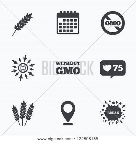 Calendar, like counter and go to web icons. Agricultural icons. Gluten free or No gluten signs. Without Genetically modified food symbols. Location pointer.