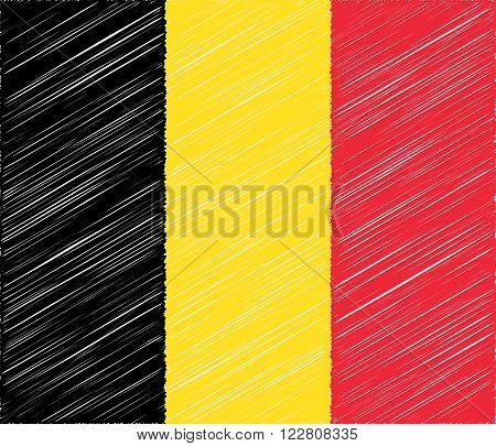 Belgian flag with with embroidery effect. Flat graphic design elements. Banner or poster Vector illustration flat style background.