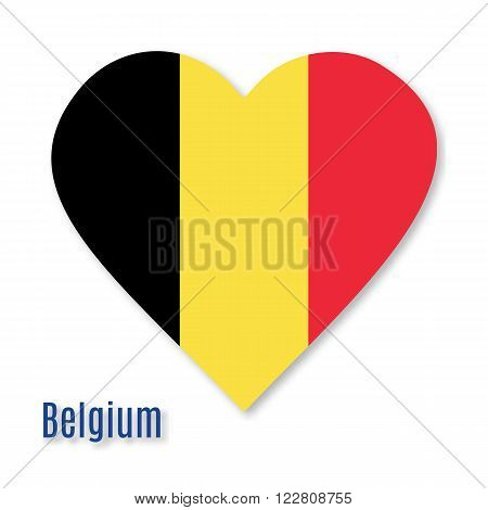 Belgian flag overlaid on heart shape with shadow isolated on white background. Vector illustration with flat graphic design element. Banner or poster.