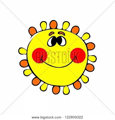 abstract smilling sun on the white background. vector