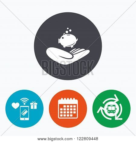 Donation hand sign icon. Hand holds Piggy bank. Charity or endowment symbol. Human helping hand palm. Mobile payments, calendar and wifi icons. Bus shuttle.