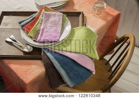 Sets Of Color Dinner Napkins On Table