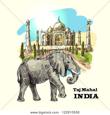 Vector hand drawn beautiful illustration India for your design