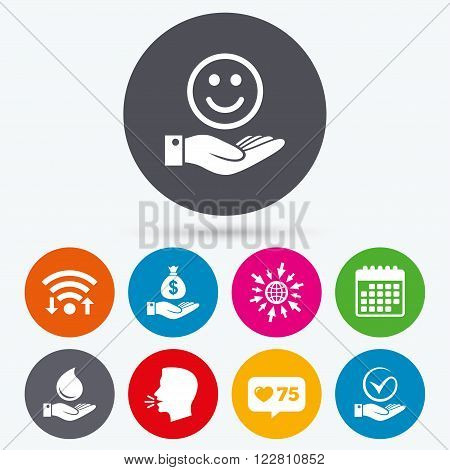 Wifi, like counter and calendar icons. Smile and hand icon. Water drop and Tick or Check symbol. Palm holds Dollar money bag. Human talk, go to web.