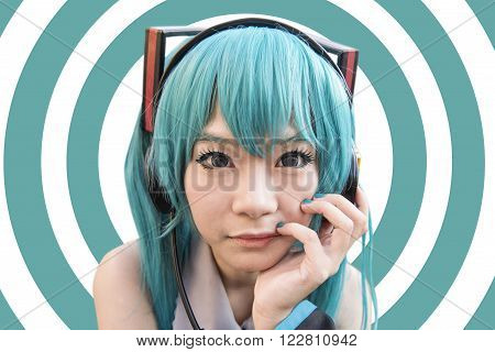 Japan anime cosplay on abstract background set
