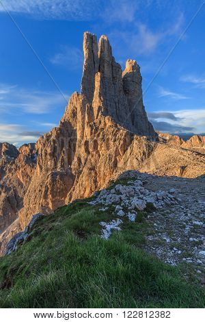Vajolet towers in Dolomites Val di Fassa Italy