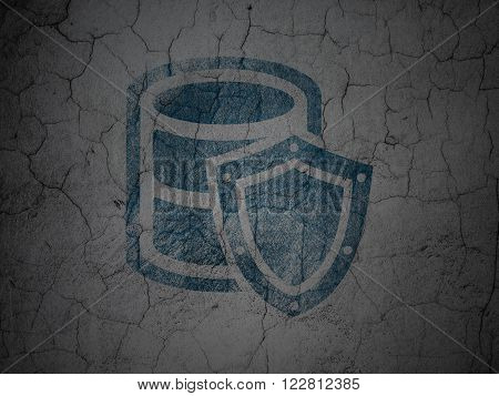 Database concept: Database With Shield on grunge wall background