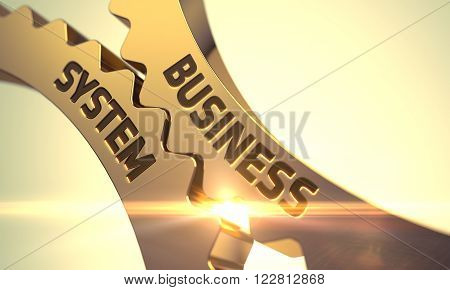 Business System - Industrial Design. Business System - Industrial Illustration with Glow Effect and Lens Flare. Business System on Mechanism of Golden Metallic Cogwheels with Glow Effect. 3D Render.