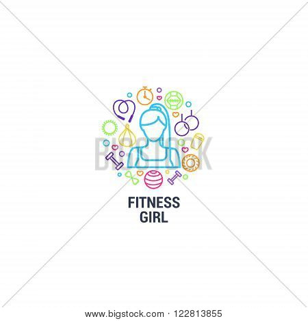 Fitness logo - fitness girl and gym tools on circle background. Color line icons of dumbbells, fitball, protein, stopwatch, punching bag, workout clothes and other. Vector illustration.