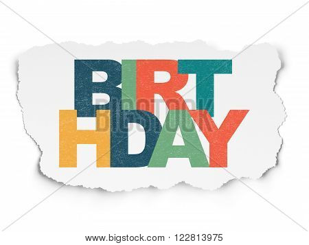 Holiday concept: Birthday on Torn Paper background