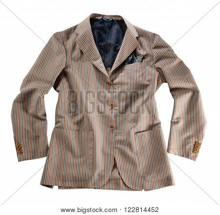 Single loose unbuttoned spring jacket with stripes and pockets on isolated white background
