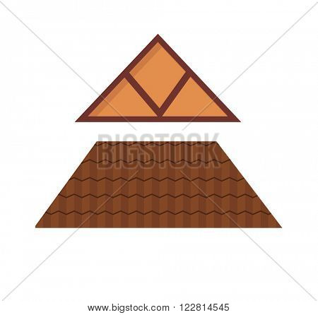 House roof exterior real property and shingle mortgage house roof estate style. Window elements attic construction tiled roof. Triangular metal house roof cartoon architecture construction vector.