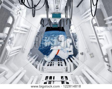 Astronaut sitting inside .