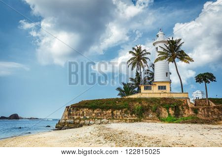 Light House At Galle Dutch Fort 17th Centurys Ruined Dutch Castle That Is Unesco Listed As A World Heritage Site  in Galle, Sri Lanka.