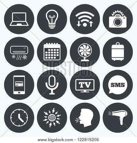 Wifi, calendar and mobile payments. Home appliances, device icons. Air conditioning sign. Photo camera, computer and ventilator symbols. Sms speech bubble, go to web symbols.