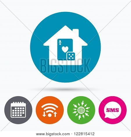 Wifi, Sms and calendar icons. Casino sign icon. Playing card with dice symbol. Go to web globe.