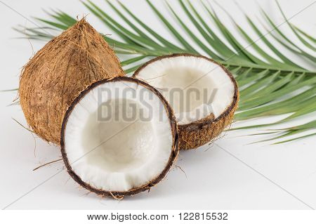 Halved And Whole Fresh Coconuts With Leaves