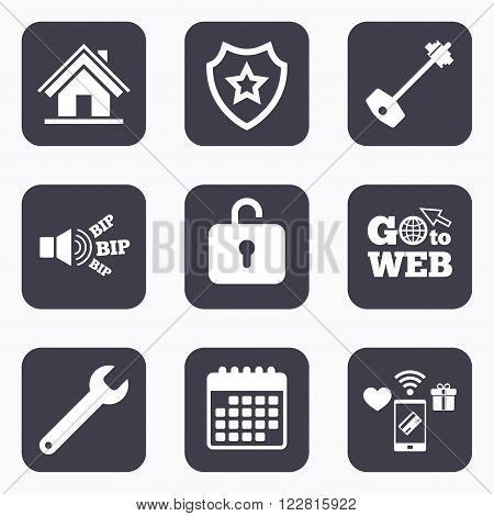 Mobile payments, wifi and calendar icons. Home key icon. Wrench service tool symbol. Locker sign. Main page web navigation. Go to web symbol.