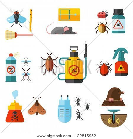 Home pest control expert exterminator service flat icons set with rat and cockroach abstract isolated vector illustration Home pests, vermin