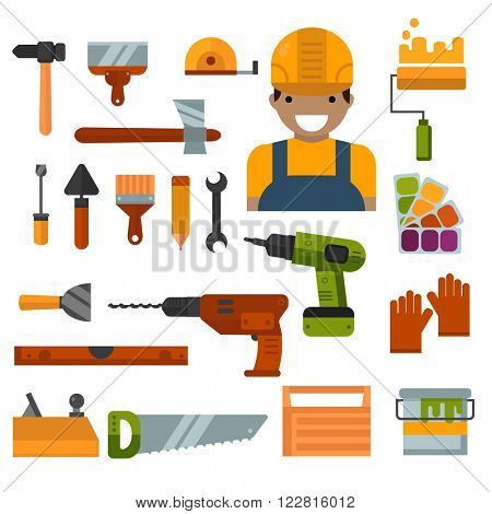 Set of worker home repair tools flat icons. House tool industry. Building, home repair and decoration works tools vector. Home repair tools construction and power tools hand tools for home repair work