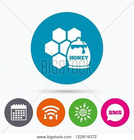 Wifi, Sms and calendar icons. Honey in pot and honeycomb sign icon. Honey cells symbol. Sweet natural food. Go to web globe.