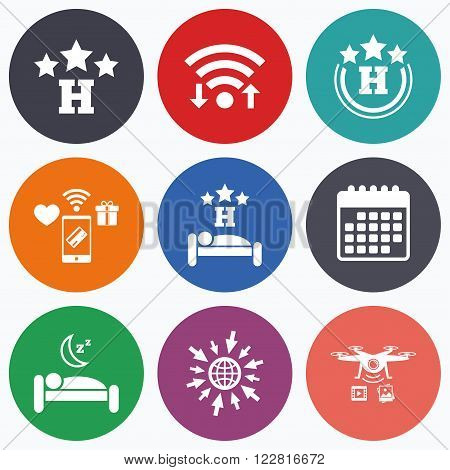 Wifi, mobile payments and drones icons. Three stars hotel icons. Travel rest place symbols. Human sleep in bed sign. Calendar symbol.