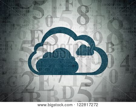 Cloud computing concept: Cloud on Digital Paper background