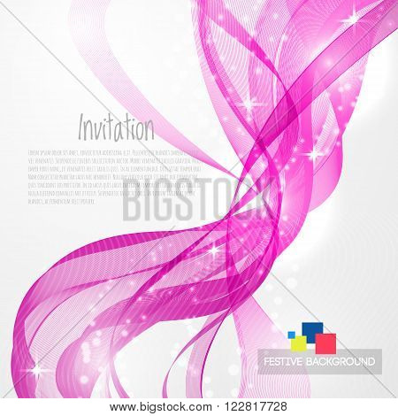 Pink modern abstract lines swoosh certificate - speed smooth wave border background. Vector illustration