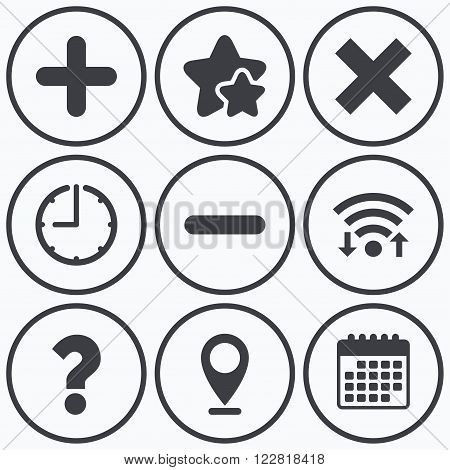 Clock, wifi and stars icons. Plus and minus icons. Delete and question FAQ mark signs. Enlarge zoom symbol. Calendar symbol.