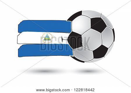 Soccer Ball And Nicaragua Flag With Colored Hand Drawn Lines