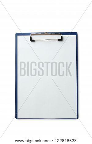 Sheet of blank paper on holder on white background