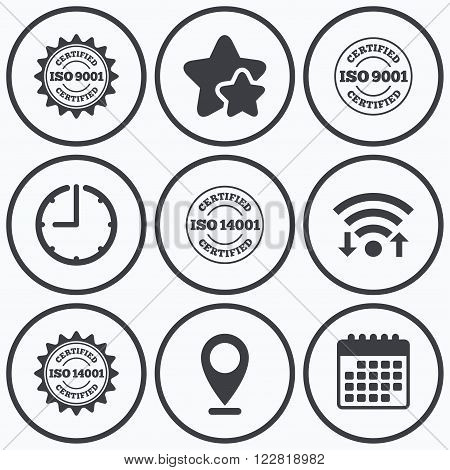 Clock, wifi and stars icons. ISO 9001 and 14001 certified icons. Certification star stamps symbols. Quality standard signs. Calendar symbol.