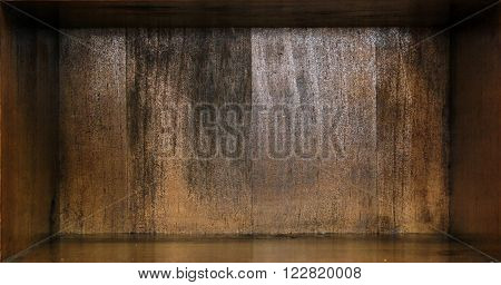 Interior of a brown wooden box background.