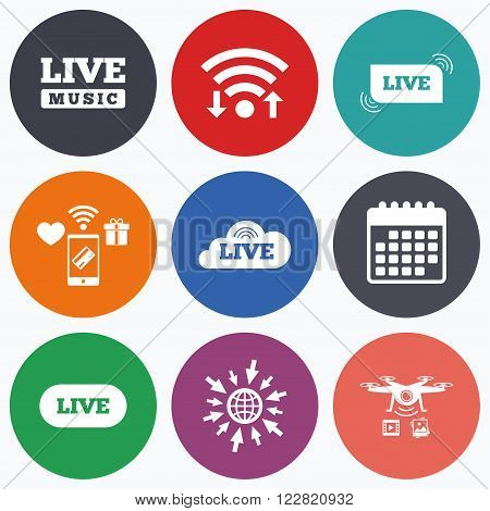 Wifi, mobile payments and drones icons. Live music icons. Karaoke or On air stream symbols. Cloud sign. Calendar symbol.