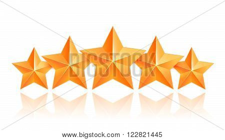 Realistic 3D gold star. Award winner. Five gold stars. Good job. Best reward. bulk copper star. Simple 5 star on a white background. The award for the best choice. Premium class. Vector illustration