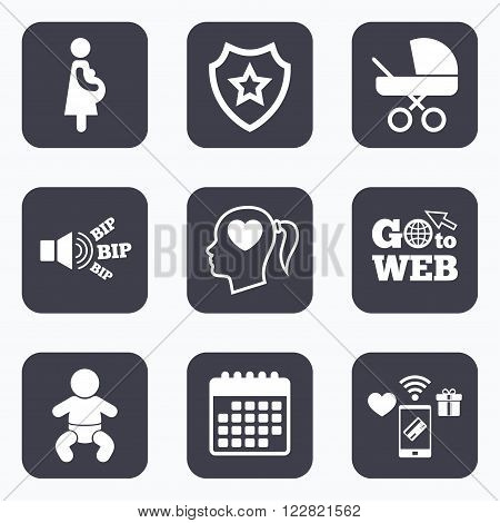 Mobile payments, wifi and calendar icons. Maternity icons. Baby infant, pregnancy and buggy signs. Baby carriage pram stroller symbols. Head with heart. Go to web symbol.