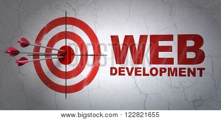 Web development concept: target and Web Development on wall background