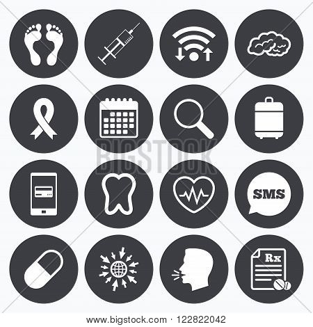 Wifi, calendar and mobile payments. Medicine, medical health and diagnosis icons. Syringe injection, heartbeat and pills signs. Tooth, neurology symbols. Sms speech bubble, go to web symbols.