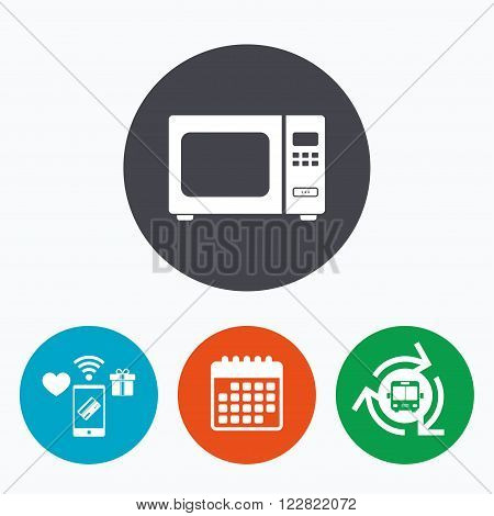 Microwave oven sign icon. Kitchen electric stove symbol. Mobile payments, calendar and wifi icons. Bus shuttle.