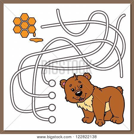 Cute bear game. Vector illustration of maze (labyrinth) game with cute cartoon bear for children
