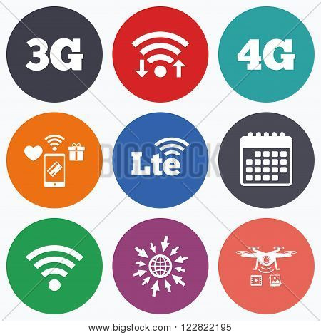 Wifi, mobile payments and drones icons. Mobile telecommunications icons. 3G, 4G and LTE technology symbols. Wi-fi Wireless and Long-Term evolution signs. Calendar symbol.