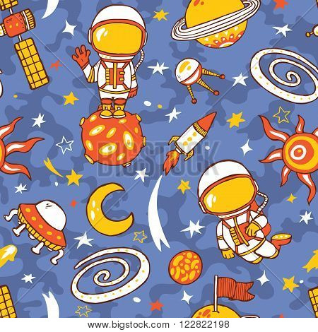 doodle astronauts pattern of space collection. Seamless vector doodle hand drawn pattern with astronauts, planets, stars, spaceships