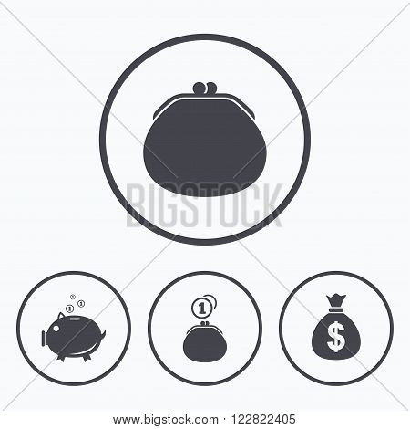 Wallet with cash coin and piggy bank moneybox symbols. Dollar USD currency sign. Icons in circles.