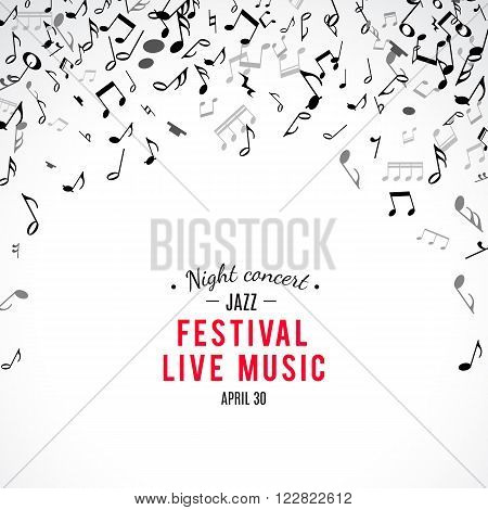Abstract musical concert flyer with black notes on white background. Vector Illustration for music design. Modern pop  concept art melody banner. Sound key decoration with music symbol sign.