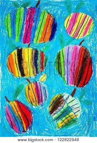 Children's drawing a picture painted gouache paints