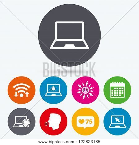 Wifi, like counter and calendar icons. Notebook laptop pc icons. Virus or software bug signs. Shield protection symbol. Mouse cursor pointer. Human talk, go to web.