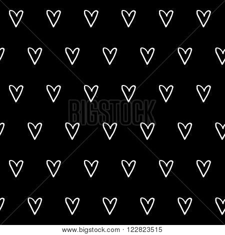 Trendy monochrome vintage seamless vector pattern with hand drawn hearts for fabric, cards, invitations, wrapping paper, stationery and web backgrounds. Retro style black whimsical cute love ornament.