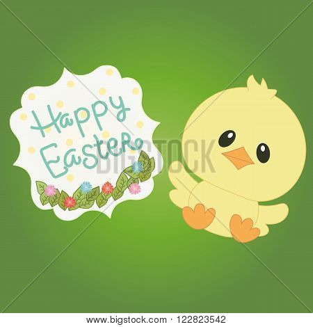 Small yellow easter chick on green background with text